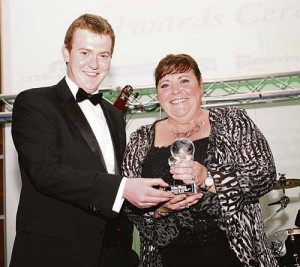 Mary Byrne receives Best International Singer Award from Toureen Mangan's Michael Sheahan