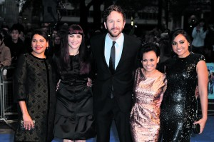 The cast of The Sapphires: Deborah Mailman, Shari Sebens, Chris O'Dowd, Miranda Tapsell and Jessica Mauboy
