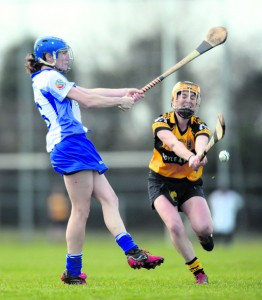 Orla Gately (right) Four Roads (Roscommon), in action against Bid Grennan, Tara (London) at St Aidans GAA club, Ballyforan, Co Roscommon.  Picture: Caroline Quinn