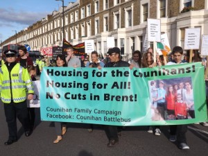 The Counihans, whose protests will continue, want to move back to Kilburn from Ealing