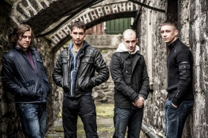 Love/Hate's Peter Coonan, Robert Sheehan, Tom Vaughan-Lawlor and Killian Scott
