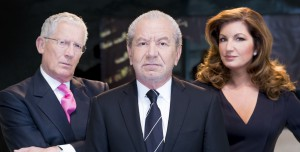 Lord Sugar (centre) with Nick Hewer and Karren Brady