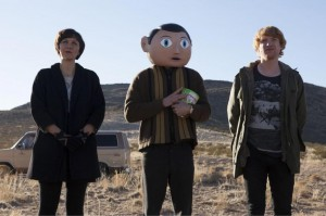 Maggie Gyllenhall, Michael Fassbender and Domnhall Gleeson in 'Frank'