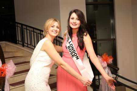 Outgoing London Rose Grace Kenny presents newly Crowned London Rose Saoirse Faughan with her sash