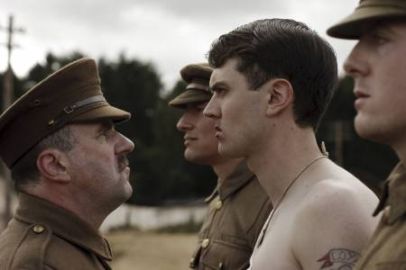 Lorcan Cranitch and Kerr Logan play Irishmen in the British Army with the younger character rebelling