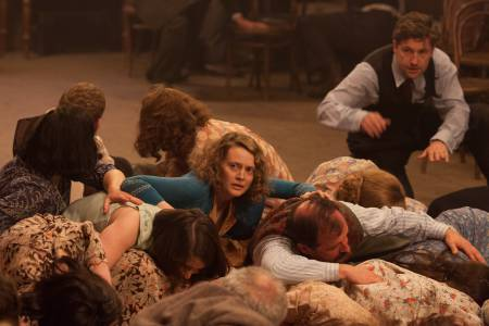 Simone's Oonagh and other women take cover when bullets are fired at the hall