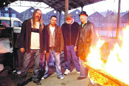 Noel, second from left, with Tax City cast members Jon Campling, Mark Hutchinson and Steve Collins