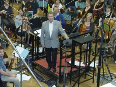Stuart Sharp brings his music to life, pictured with the orchestra