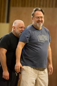 Stanley pictured in rehearsals with Simon Russell Beale who plays Lear