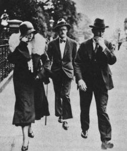 James Joyce and Nora Barnacle walking in the street 1931