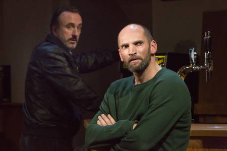 Jimmy, played by O'Kane, and Declan Conlon's Ian come face to face in a quiet pub in the poignant Quietly