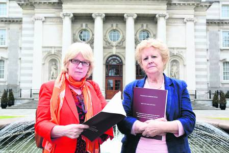 Sally Mulready and Phyllis Morgan, Co-Ordinator of the Irish Women's Survivors Network at the launch of the Magdalene Commission Report