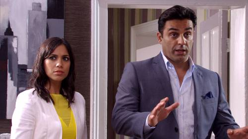 Jai's sister Priya and Rakesh, played by Fiona Wade and Pasha Bocarie