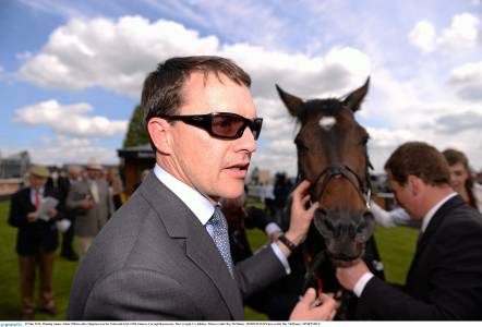 Aidan O'Brien with Magician after winning the Irish 2,000 Guineas