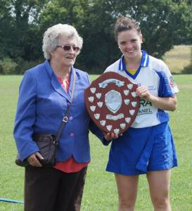 Tara Captain Caroline Kelly League Winners 2014 with Etty Kelly London Camogie President
