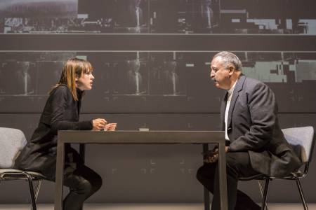 Amanda Hale and Stanley Townsend in the interrogation room. Photo: Johan Persson