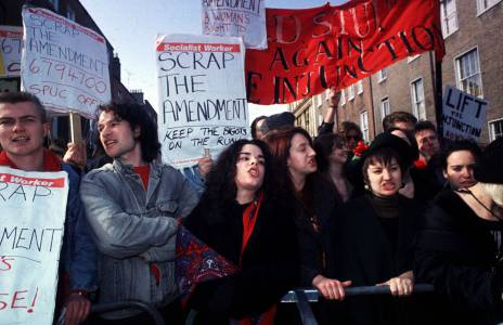 Protestors in Dublin during 1992 X case outcry