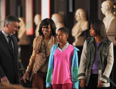 Michelle Obama and her daughters enjoying a tour of Trinity College