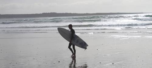Surfing on Strandhill Beach