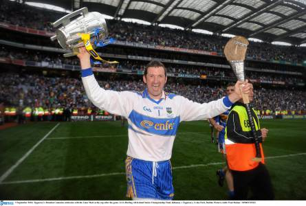 Brendan celebrates with the Liam MacCarthy Cup after their 2010 victory