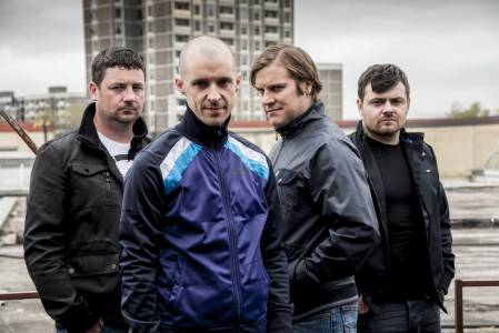 Tom with Love/Hate cast mates Mark Dunne, Peter Coonan and Laurence Kinlan