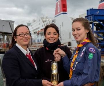 Stena Line's Paula Boulton and Kelly Kehoe with Scout Leader Bairbre Glynn