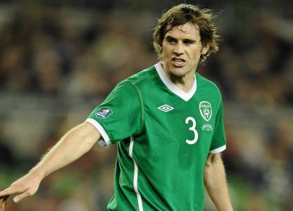 Kevin in action for Republic of Ireland. He represented the Boys in Green 110 times and is their third most capped player