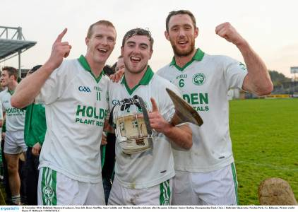 Alan Cuddihy, centre with his Ballyhale team mates Henry Shefflin and Michael Fennelly