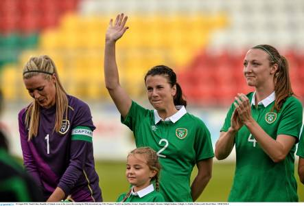 Niamh waves to the crowd, winning her 50th cap for her country last year