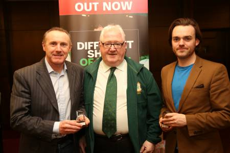 Alan McLoughlin, Declan Finnegan of the Republic of Ireland Soccer Supporters Club London and Bryce Evans, co-author of A Different Shade of Green. Photos: Brendan Vaughan