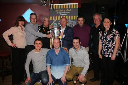 The Kilkenny Supporters Club London Branch's Pat Nolan (third from left), Chairman Pat Byrne  (centre) and John Mackey (Chairman of Kilkenny Supporters Club, right of centre) with Bridget Power, Sean and Tina Holohan and in front are David Herity, Irish World Sports Editor David Hennessy from Kilkenny and Eoin Larkin