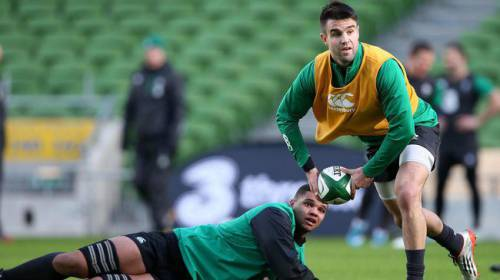 Cian training with Ireland scrum half Conor Murray