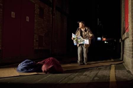 Performing Act Without Words II in the open, Bryan and the company have had audiences considering the plight of the homeless and those with mental conditions