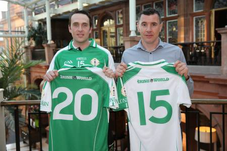 Enda Cooney and Fergus McMahon pictured with the new London jersey, sponsored by Clayton Hotels