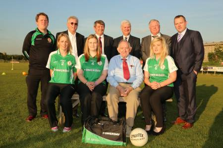 London Ladies selector Kevin McMullan, Irish TV financier John Griffin, London Chairmen Noel O'Sullivan, GAA President Aogán Ó Fearghail, Mick Crossan of Ladies' new sponsor Powerday and Irish TV CEO Pierce O'Reilly with Ladies captain Angela Kenneally, Lucy Hawkes, Ladies Chairman Joe Fryday and Fiona Morrissey of The Irish World and London Ladies