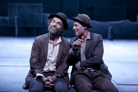 Hugo Weaving and co-star Richard Roxburgh in a scene from Waiting for Godot. Picture: Lisa Tomesetti