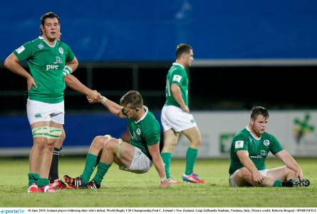 A dejected Ireland following defeat to the All Blacks