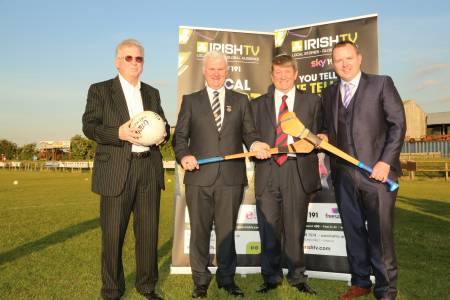 Irish TV financier John Griffin, GAA President Aogan O'Fearghail, London Chairman Noel O'Sullivan and Irish TV CEO Noel O'Sullivan
