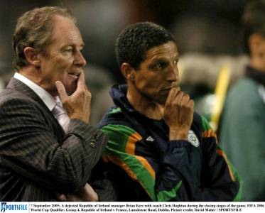 Chris on the sidelines with Republic of Ireland during his time as assistant to Brian Kerr