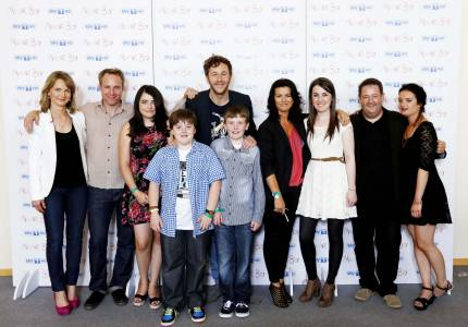 Aoife with the cast of Chris O' Dowd's Moone Boy on Sky 1