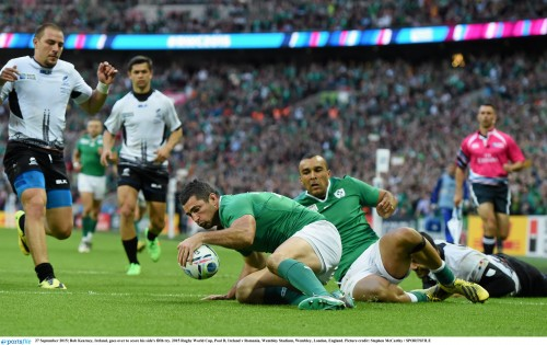 Ireland ready for tougher challenges 27 September 2015; Rob Kearney, Ireland, goes over to score his side's fifth try. 2015 Rugby World Cup, Pool D, Ireland v Romania, Wembley Stadium, Wembley, London, England. Picture credit: Stephen McCarthy / SPORTSFILE
