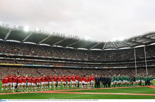28 February 2009; The England and Ireland teams line up for the National Anthems before the game. RBS Six Nations Rugby Championship, Ireland v England, Croke Park, Dublin. Picture credit: Brendan Moran / SPORTSFILE