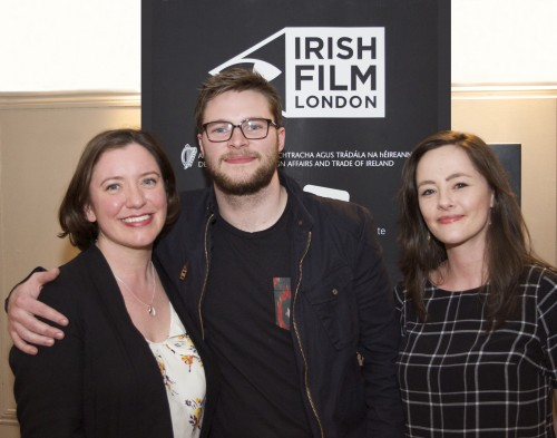 Kelly's heroes - Angela Sammon and Kelly O'Connor with Jack Reynor at the UK Premiere of Glassland at the Ritzy, Brixton.
