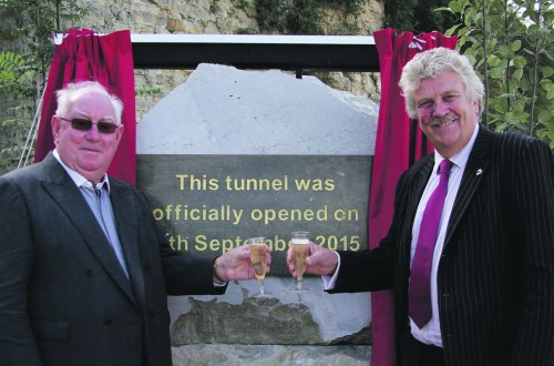 Gallagher Group chairman Pat Gallagher with Cabinet Member for Economic Development Mark Dance who officially opening the new tunnel.