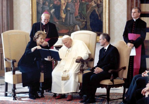 2003 Irish President Mary McAleese with Pope John Paul II, the last pope to visit Ireland.