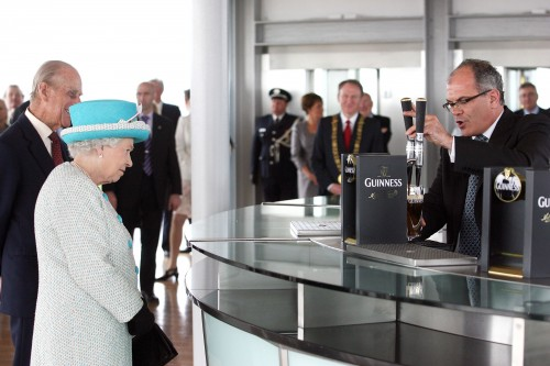 18/5/2011 Her Majesty Queen Elizabeth II and His Royal Highness The Duke of Edinburgh pictured receiving a pint of Guinness from Fergal Murray at the Guinness Storehouse on their State Visit to Ireland. Photo: RollingNews.ie