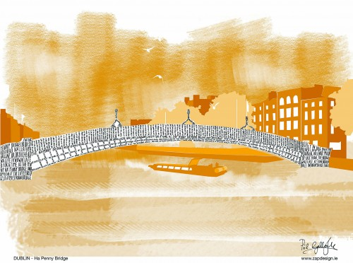 Homesick Architect draws with words - 001_Dublin_Ha Penny Bridge
