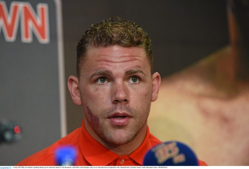 14 July 2015; Billy Joe Saunders speaking during a press conference ahead of 'The Showdown' with WBO world champion Andy Lee at Thomond Park on September 19th. Thomond Park, Limerick. Picture credit: Diarmuid Greene / SPORTSFILE