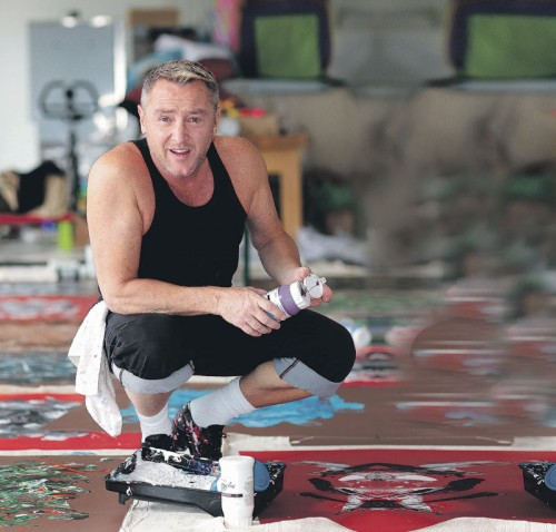 Irish Art holds its own as Investment - Irish Art Michael Flatley and one of his paintings On Pretty One.