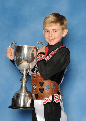 Kaylem Flynn of the Manning School was second in the U7 mixed championship and also won the top boys championship cup. - Wolverhampton Feis in Coventry